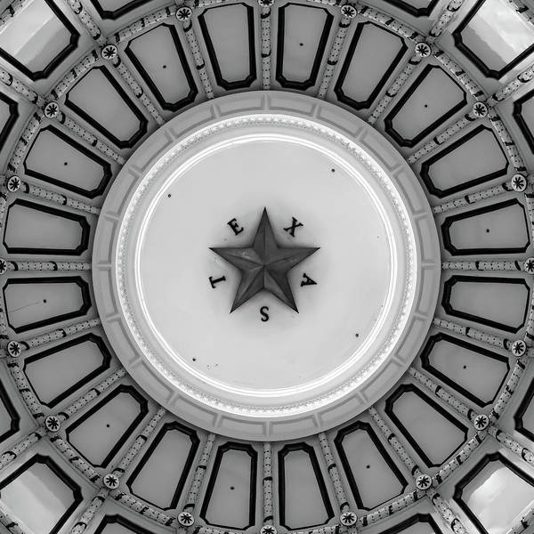 Photograph - Austin Texas Capitol Dome And Lone Star - Monochrome Edition 1x1 by Gregory Ballos