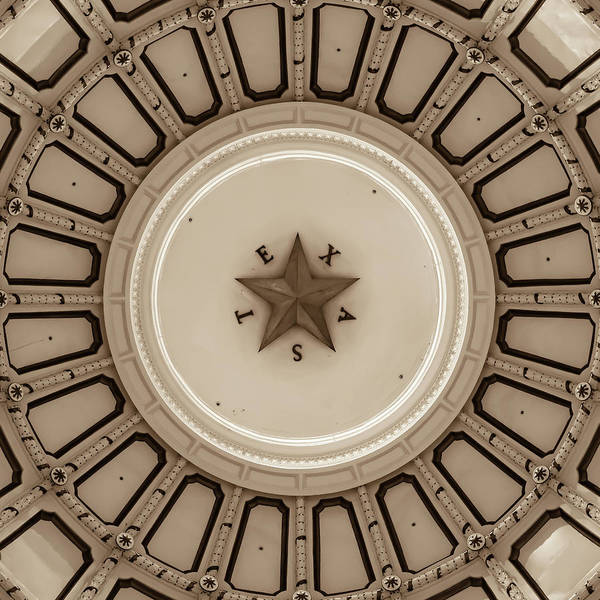 Photograph - Austin Texas Capitol Dome And Lone Star - Sepia Edition 1x1 by Gregory Ballos