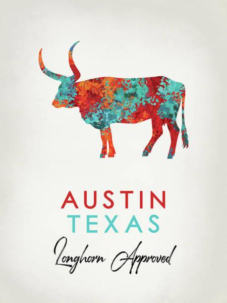 Longhorn Digital Art - Austin Texas Colorful Longhorn by Flo Karp