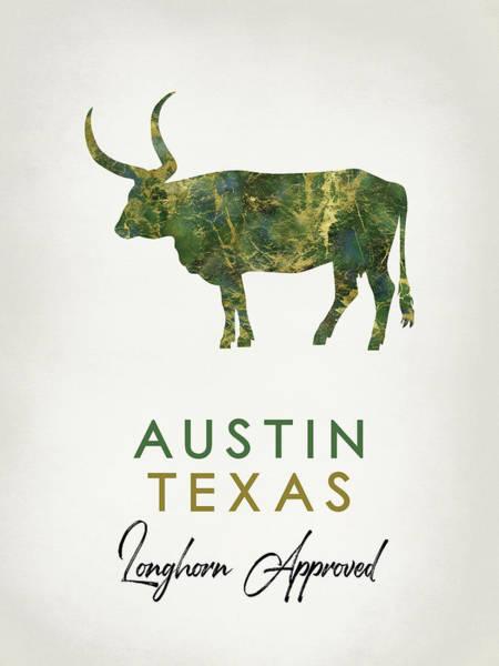 Longhorn Digital Art - Austin Texas Dark Marble by Flo Karp