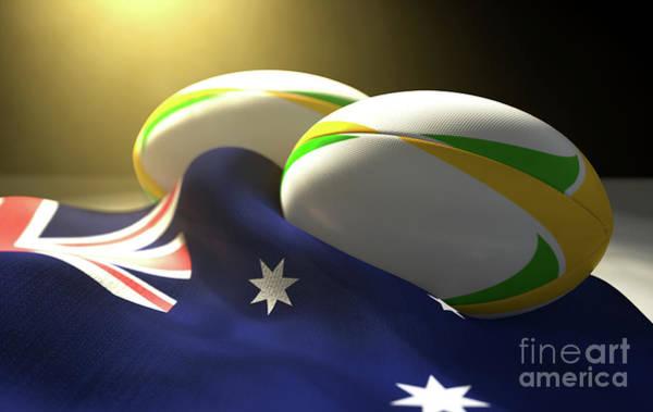 Wall Art - Digital Art - Australia Flag And Rugby Ball Pair by Allan Swart