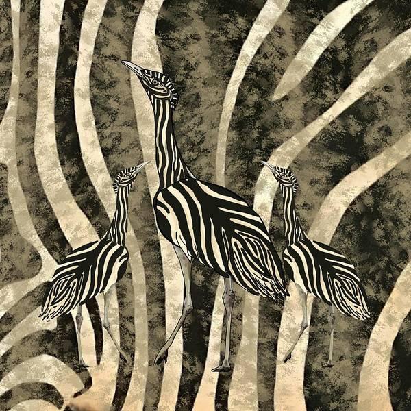 Mixed Media - Zebra Australian Bustards In Zebra Camo  by Joan Stratton