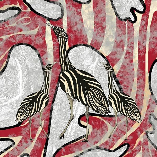 Mixed Media - Australian Bustard Zebra Red Cave Camo by Joan Stratton