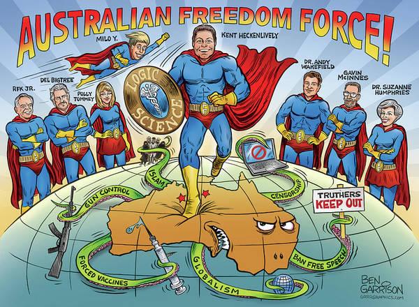 Drawing - Australian Freedom Force by GrrrGraphics ART