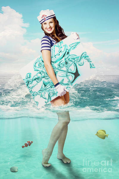 Attractive Digital Art - Australian Sailor Pin-up Woman Holding Sign Board by Jorgo Photography - Wall Art Gallery