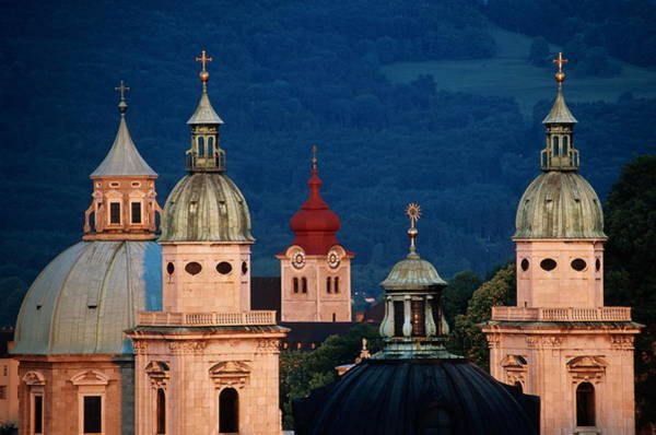 Baroque Photograph - Austria, Salzburg, Domes Of Cathedral by Travelpix Ltd