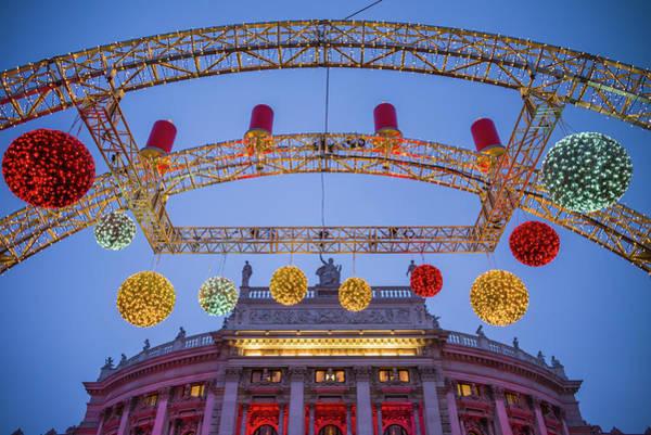 Wall Art - Photograph - Austria, Vienna, Christmas Decorations by Walter Bibikow
