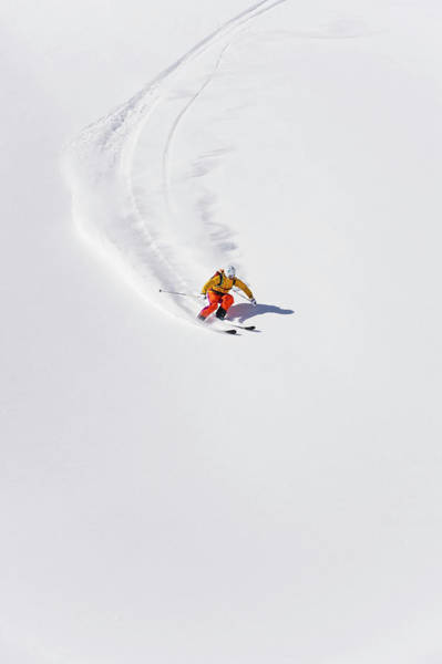 Ski Tracks Wall Art - Photograph - Austria, Young Woman Doing Alpine Skiing by Westend61