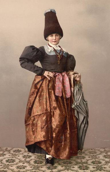 Brocade Photograph - Austrian Girl by Hulton Archive