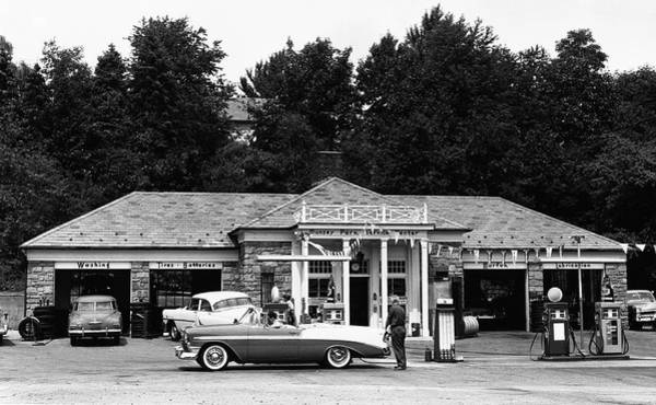 Land Mark Photograph - Auto At Gas Station by George Marks