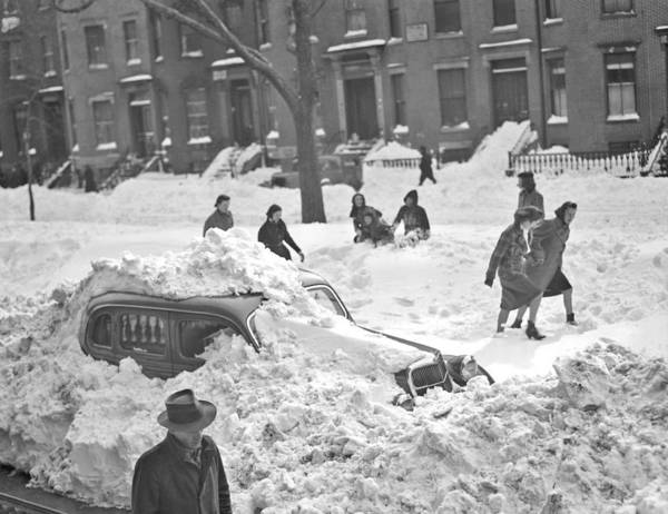 Buried Painting - Auto Buried In Snow  Ca  1939 by Celestial Images