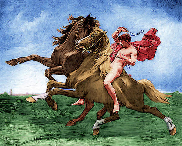 Painting - Automedon Riding The Horses Of Achilles by Troy Caperton