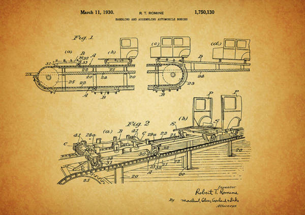 Drawing - Automobile Assembly Line Patent by Dan Sproul