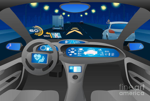Wall Art - Digital Art - Automobile Cockpit, Various Information by Metamorworks