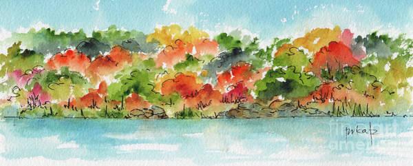 Painting - Autumn Along The River Panorama by Pat Katz