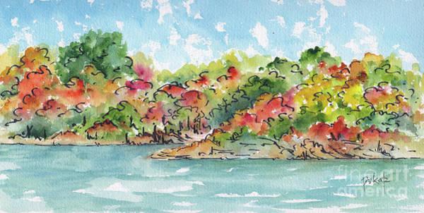 Painting - Autumn Along The River Tiny Bay by Pat Katz