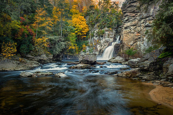 Photograph - Autumn At Linville Falls - Linville Gorge Blue Ridge Parkway by Mike Koenig