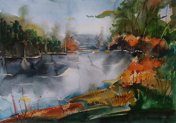 Painting - Autumn At The Lake by Stefano Popovski