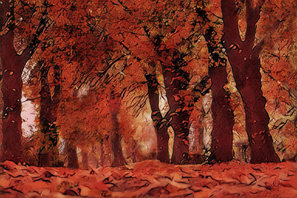 Wall Art - Digital Art - Autumn Avenue by Digital Painting