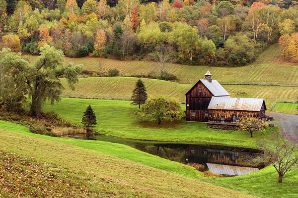 Photograph - Autumn Barn Reflection Vermont 2018 by Terry DeLuco