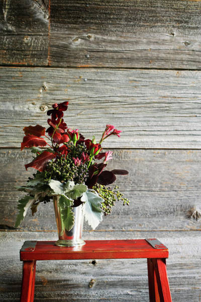 Vase Of Flowers Photograph - Autumn Bouquet On Small Wooden Table by Ngoc Minh Ngo