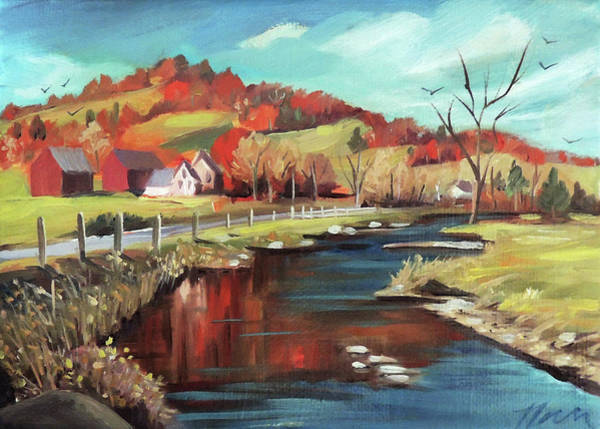 Painting - Autumn By The River by Nancy Griswold