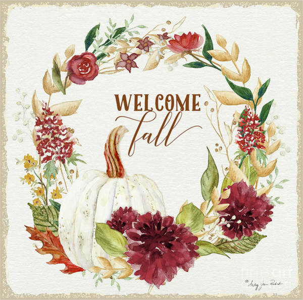 Wall Art - Painting - Autumn Celebration 1 - Welcome Fall White Pumpkin Floral Leaf Leaves Wreath by Audrey Jeanne Roberts