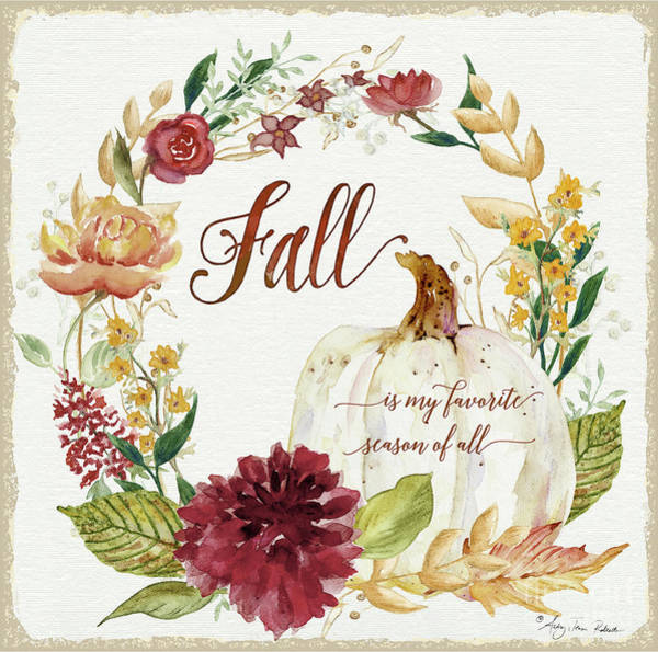 Wall Art - Painting - Autumn Celebration 2 - Fall Is My Favorite Season Of All White Pumpkin Floral Wreath  by Audrey Jeanne Roberts