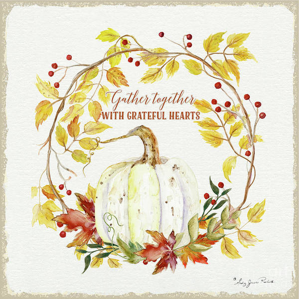 Heart Gold Painting - Autumn Celebration 1 - Gather Together With Grateful Hearts White Pumpkin Fall Leaves Red Berries by Audrey Jeanne Roberts