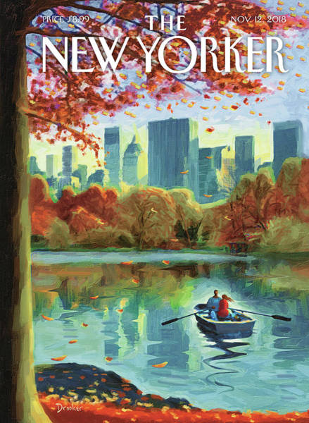 Rowing Drawing - Autumn Central Park by Eric Drooker