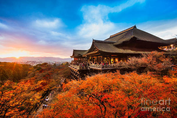 Kansai Wall Art - Photograph - Autumn Color At Kiyomizu-dera Temple In by Luciano Mortula - Lgm