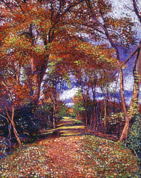 Wall Art - Painting - Autumn Colored Road by David Lloyd Glover