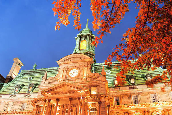 Quebec City Photograph - Autumn Colored Trees, Hotel De Ville by Stuart Westmorland