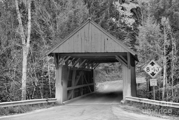 Photograph - Autumn Colors At The Red Covered Bridge Black And White by Adam Jewell