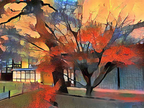 Wall Art - Digital Art - Autumn Colors In Kyoto by Artly Studio