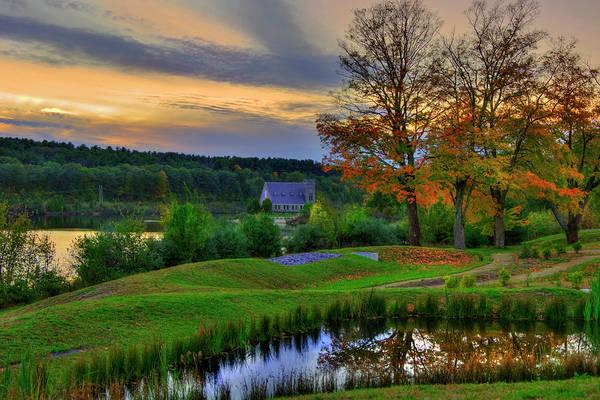 Photograph - Autumn Country Scene - Old Stone Church by Joann Vitali