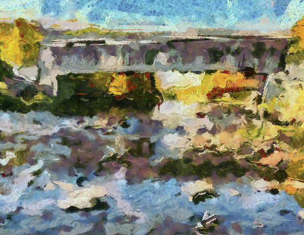Painting - Autumn Covered Bridge Abstract by Dan Sproul