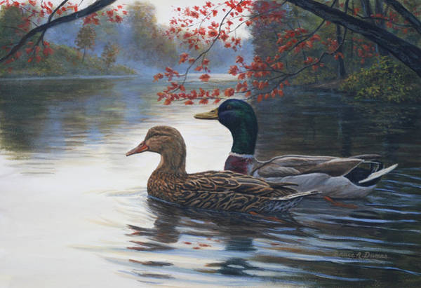 Trumpeter Swan Painting - Autumn Cruise by Bruce Dumas