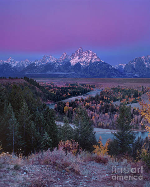 Photograph - Autumn Dawn Snake River Overlook Grand Tetons Np Wyoming by Dave Welling