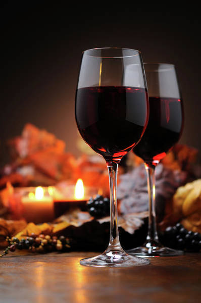 Drinking Glass Photograph - Autumn Decoration With Wine And Candle by Moncherie
