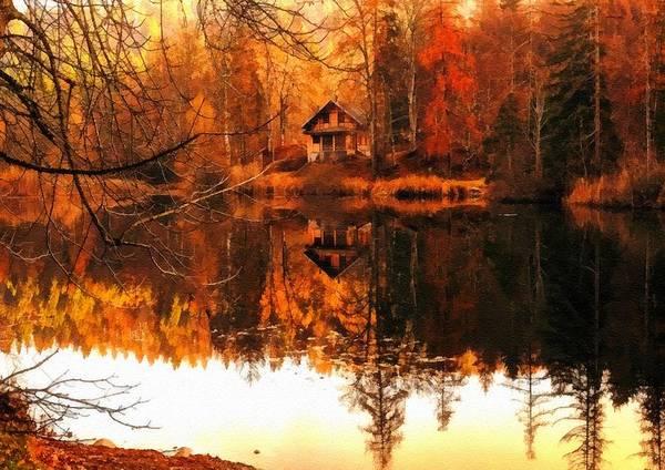 Olive Branch Digital Art - Autumn Dreams Reflected L B by Gert J Rheeders