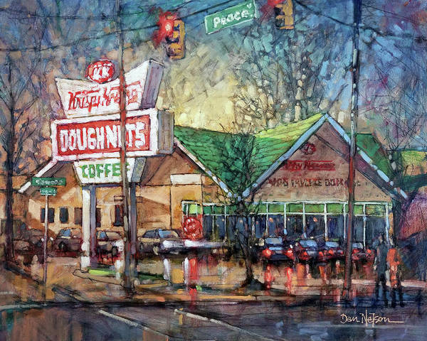 Wall Art - Painting - Autumn Evening Krispy Kreme by Dan Nelson