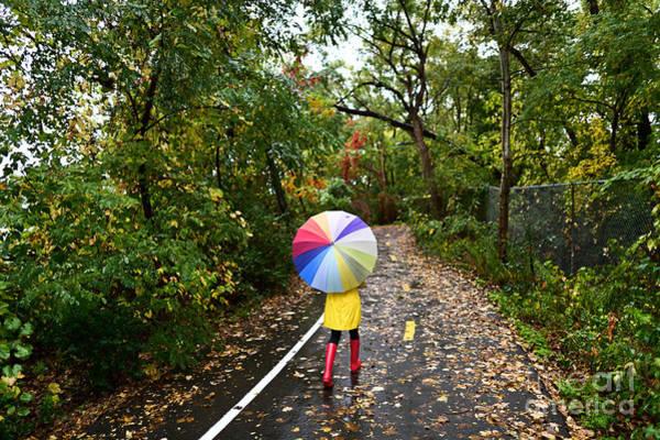 Full Length Wall Art - Photograph - Autumn  Fall Concept - Woman Walking In by Maridav