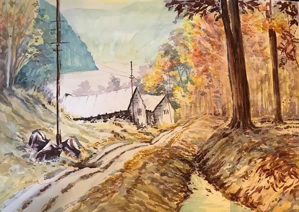 Kannan Painting - Autumn Fall On Banks Of River Teestha by Kannan Ananthasubramani