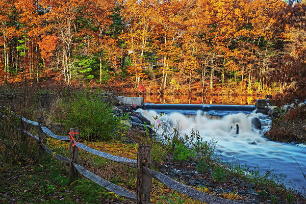 Photograph - Autumn Foliage On Stearns Millpond In Sudbury Ma Waterfall by Toby McGuire