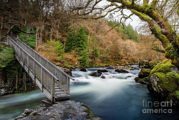 Photograph - Autumn Footbridge Rapids by Adrian Evans