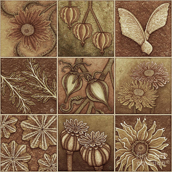 Painting - Autumn Garden Squares X 9 Browns by Amy E Fraser