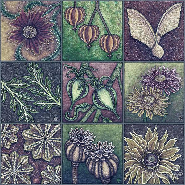 Painting - Autumn Garden Squares X 9 Dusk by Amy E Fraser