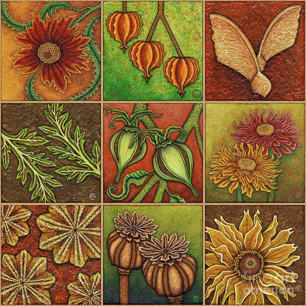 Painting - Autumn Garden Squares X 9 Original by Amy E Fraser