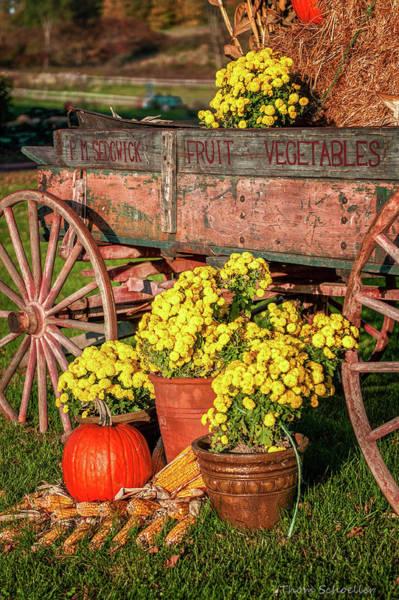 Photograph - Autumn Harvest Vintage Wagon by T-S Fine Art Landscape Photography